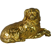 Antique French Gilt Bronze Dore Dog King Charles Cavalier Spaniel Circa 1870