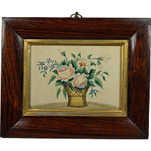Antique English 19th Century Watercolor Painting Flowers And Basket Circa 1820 Georgian Floral Rosewood
