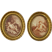 Antique 18th Century Pair Miniature Oval Cherub Sanguine Sepia Stipple Engraving After Bartolozzi Circa 1780