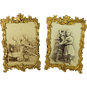 Antique 19th Century French Gilt Ormolu Easel Photo Frame Pair with Original Photographs Jack Russell Terrier Dog Victorian Circa 1880