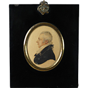 Early 19th Century Albin Roberts Burt Miniature Watercolor Portrait Signed Dated 1813 Regency