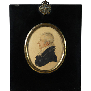 Early 19th Century Albin Roberts Burt Miniature Watercolor Portrait Signed Dated 1813 Regency