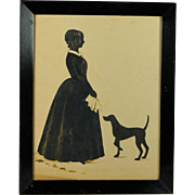 Antique 19th Century Full Length Cut Paper Silhouette Lady And Dog Circa 1840