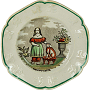 19th Century Staffordshire Child's Cat Plate The Favourite Cat English Circa 1840