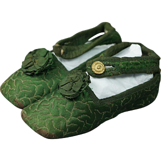 Early 19th Century Childrens Shoes Green Brocade Silk Baby Slippers French Empire Circa 1810 Georgian
