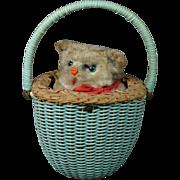 Vintage Max Carl Wind Up Toy Cat Kitten In Basket West Germany Clockwork Circa 1950