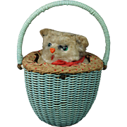 Vintage Max Carl Wind Up Toy Cat Kitten In Basket West Germany Clockwork Circa 1950