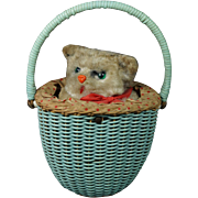Vintage Max Carl Cat In Basket Wind Up Toy German Clockwork Kitten Circa 1950