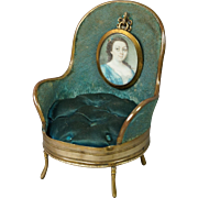 Antique French Blue Velvet Pocket Watch Holder Pin Cushion Rare Salon Chair Doll House Perhaps