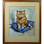 1920s Art Deco Kitten Cat Watercolor Gouache Painting by Edward Cole 1925 English