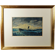 20th Century Seascape Oil On Board Painting Steamship Steamer Maritime Signed Dated W. M. 1929