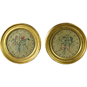 Early 19th Century Miniature Silkwork Pair Floral Circular Lemon Gilt Frame English Circa 1820 Regency
