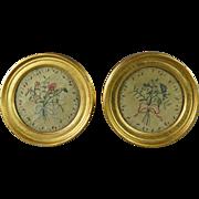 Early 19th Century Miniature Silkwork Pair Floral Circular Lemon Gilt Frame English Circa 1820 Regency