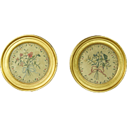 Early 19th Century Miniature Silkwork Pair Floral Circular Lemon Gilt Frame English Circa 1820 Hollywood Regency