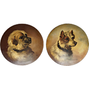 Antique 19th Century Pair Terrier Dog Portrait Papier Mache Dishes Victorian Circa 1860 Folk Art AF