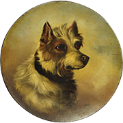 Antique 19th Century Jack Russell Terrier Dog Portrait Painting Papier Mache Dish Circa 1860 After George Armfield