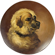 Antique Dog Portrait Painting Papier Mache Dish Circa 1860 AF After George Armfield