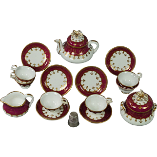 Antique English Samuel Alcock Miniature Dolls Porcelain Tea Service 19th Century Georgian Circa 1830