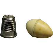 19th Century Child Doll Teeny Miniature Bone Egg Vinaigrette with screw top and Natural sponge, French Circa 1820