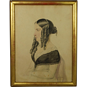 English 19th Century Watercolor Portrait of a Lady by Moses Haughton the Younger Dated 1845 Howl Family Interestst