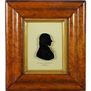 Antique Early 19th Century Reverse Painted Silhouette On Glass US Congressman Killian K Van Rensselaer