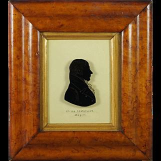 Antique Early 19th Century Reverse Painted Silhouette On Glass US Congressman Killian K Van Rensselaer