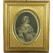 Antique English 18th Century Engraving Stunning Frame Education by Emma Crewe  and James Thomson Poet Georgian Circa 1783