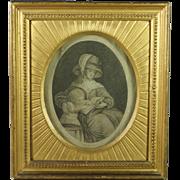 Antique English 18th Century Engraving Stunning Frame Education by Emma Crewe  and James Thomson Poet Georgian Circa 1783