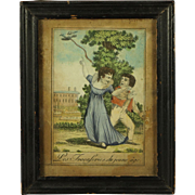 Antique Early 19th Century Miniature French Hand Colored Engraving Print Children Liberated Bird Georgian Circa 1810