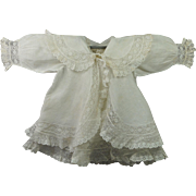 Antique English Exquisite 19th Century White Doll Dress and Matching Coat Finest Cotton Bobbin Lace Flounces