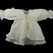 Antique English Exquisite 19th Century White Doll Dress and Matching Coat Finest Cotton Bobbin Lace Flounces