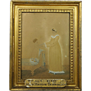 Antique English Early 19th Century Watercolor of Mother and Child Allan Maclean Skinner Q.C and Ann Maclean Dated 1812 Regency Skinner Family Interest