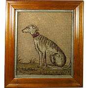 Antique English 19th Century Dog Needlework Greyhound Lurcher Deerhound Wolfhound Maple Frame Georgian Circa 1830