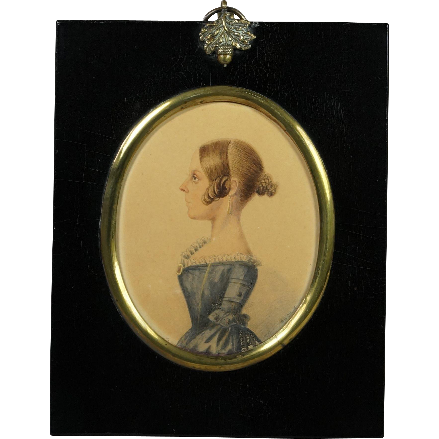19th Century English Watercolor Portrait Miniature Young Lady Blue Dress Signed B W Gilbert Circa 1840