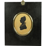 19th Century Painted Silhouette Portrait by Edward Foster Original Papier Mache Frame 1815