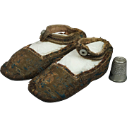 19th Century Georgian Baby Shoes Blue Bronze Silk Brocade Slippers English Circa 1810