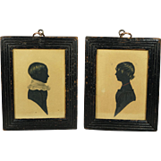 Enchanting 19th Century Pair Painted Silhouette Named Brother And Sister Georgian Folk Art Circa 1835