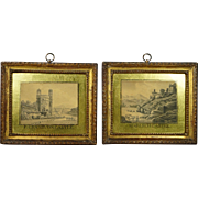 Miniature 18th Century Pair Watercolor Painting Stunning Eglomise Frame British Folk Art Welsh Castles Georgian Circa 1790