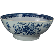 English 18th Century Large Blue and White Porcelain Punch Bowl Liverpool circa 1780 Georgian