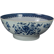 Antique 1700s Punch Bowl Blue and White English Liverpool Porcelain Circa 1780 Georgian