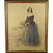 19th Century Watercolor Portrait Beautiful Lady And Baby English School Victorian Circa 1850 Great Frame
