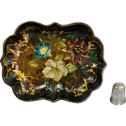 Antique Early 19th Century Victorian Floral Papier Mache Counter Tray Dish English Circa 1830