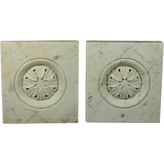 Antique French Pair of White Carrara Marble Hand  Carved Tiles Louis XVI Style