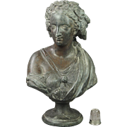 Antique 19th Century Small Classical Bust Female Cast Metal Spelter Victorian Circa 1890
