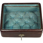 Antique 19th Century French Red Leather Jewelry Box Vitrine Display Box Casket With Key C 1875