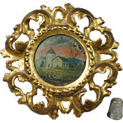 19th Century French Miniature Oil Painting On Panel Circular Gilt Wood Frame Circa 1900