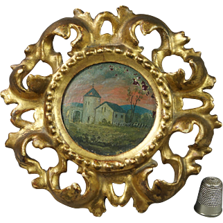 Antique Miniature French Oil Painting On Panel Circular Gilt Wood Frame Circa 1900