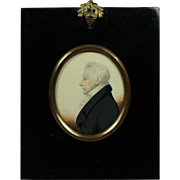 Antique Watercolor Portrait Miniature James H Gillespie, Distinguished Man Circa 1815