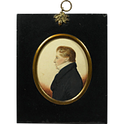 19th Century Portrait Miniature J H Gillespie, Handsome Man, Rare Smalls and Hipkiss Papier Mache Frame Circa 1815