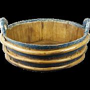 19th Century HUGE Blue Painted Storage Bowl Wash Tub Folk Art Circa 1840s